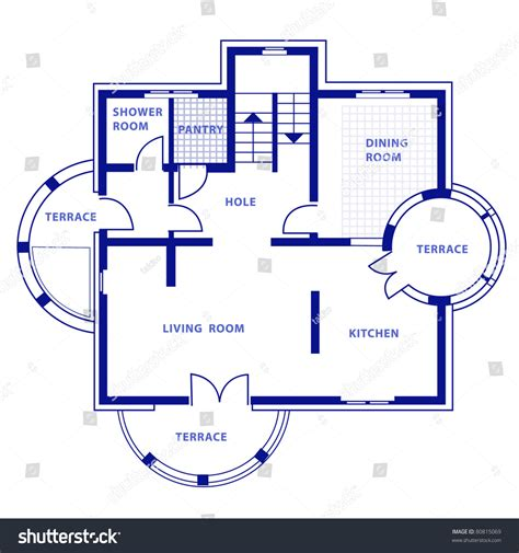 project ground floor vector house blueprint stock vector