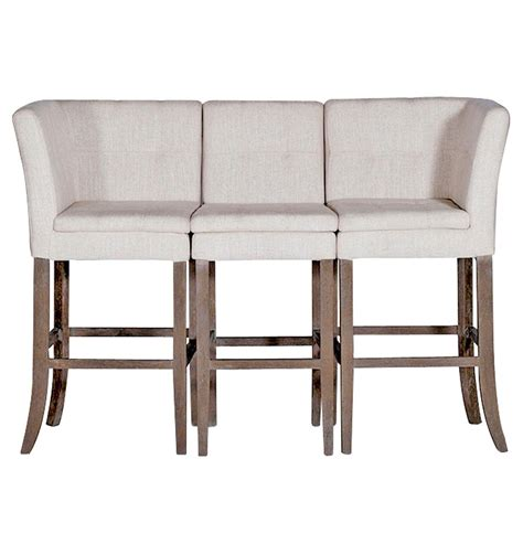 pub bench seating cooper conrad tufted linen square linen 3 seat bench bar stool kathy kuo home