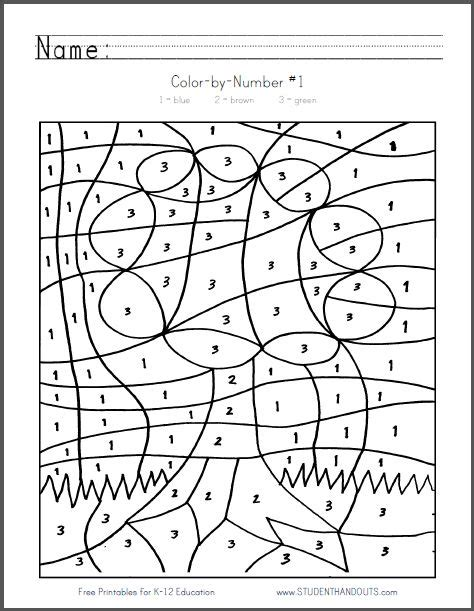 coloring pages by numbers pdf color by number 1 tree free to print pdf file
