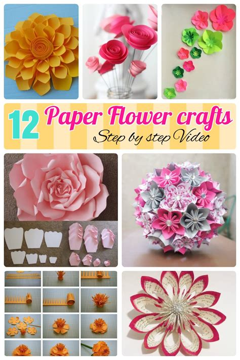 Papercraft Flowers - 12 step by step diy papers made flower craft ideas for