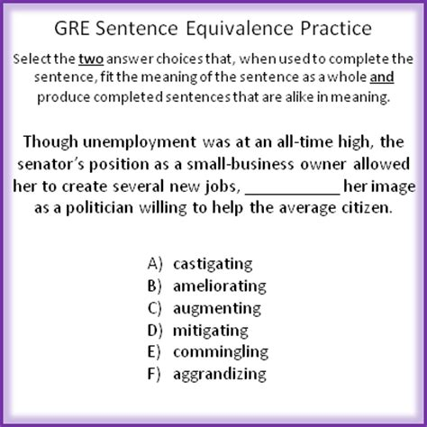 gre verbal section practice gre sentence equivalence basics and practice question
