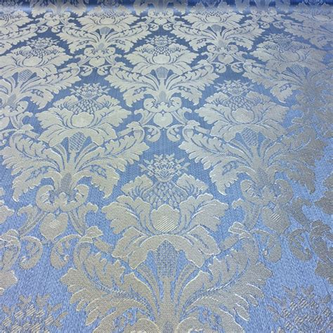jacquard damask print fabric baby blue for curtains and decorations fabric wholesale direct
