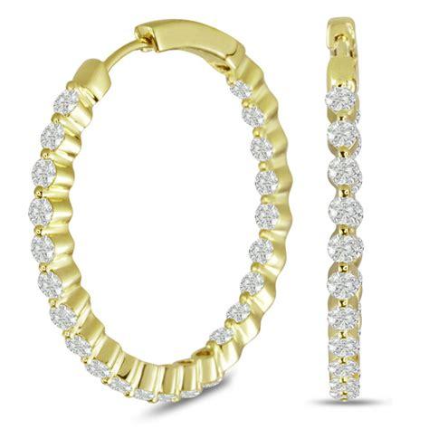 18k yellow gold 3 carat floating hoop earrings