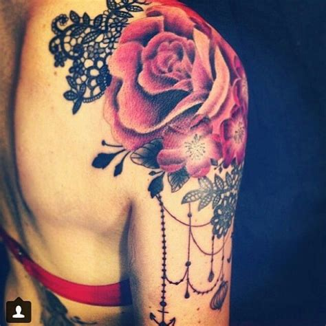 rose shoulder cap tattoo shoulder with