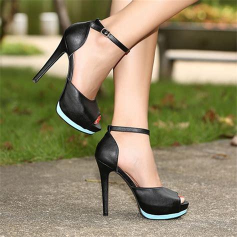 Wedges Ankle Black Preorder fashion high heels ankle peep toe platform
