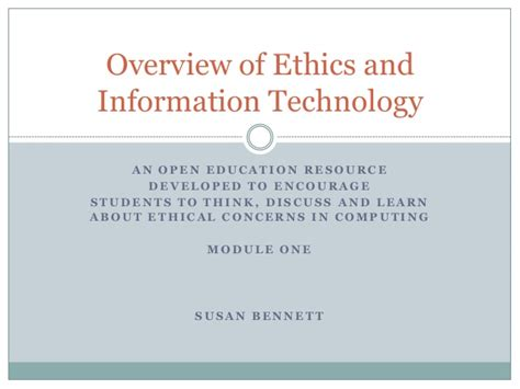 global information technologies ethics and the higher education coursebook books overview of ethics and information technology