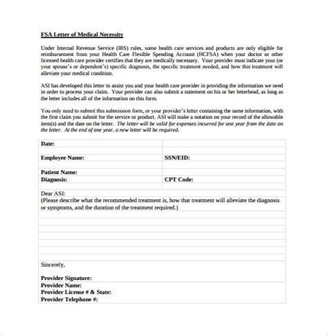 13 Letter Of Medical Necessity Form Templates To Download Sle Templates Fsa Plan Document Template