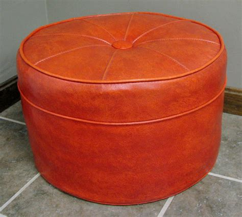 burnt orange ottoman vintage mid century modern round burnt orange vinyl ottoman