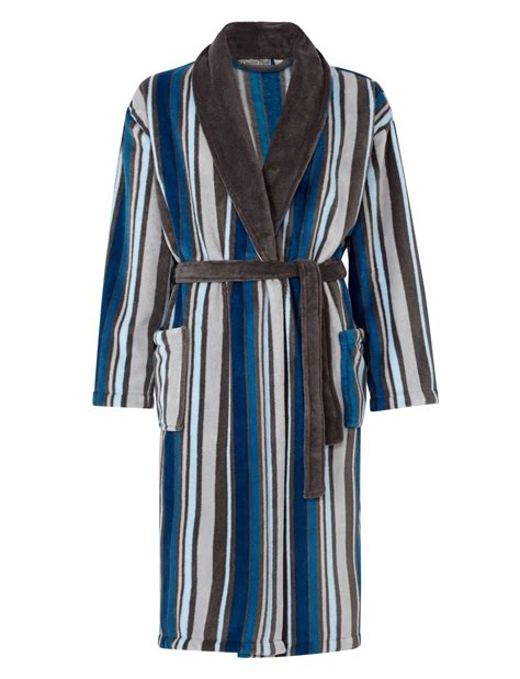 New Mydior Best Seller With New Luxury Stripe Fm dressing gown mens fleece striped bathrobe luxury walker nightwear robe ebay