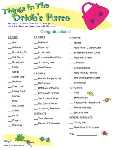 Kitchen Bridal Shower Ideas by Bridal Shower Game What S In Your Purse List 99 Wedding