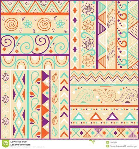 tribal pattern drawn tribal striped hand drawn seamless pattern stock vector
