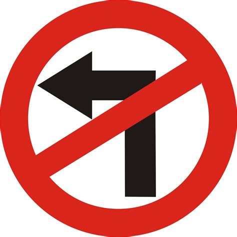 no left പ രമ ണ road sign no left turn jpg വ ക ക പ ഡ യ
