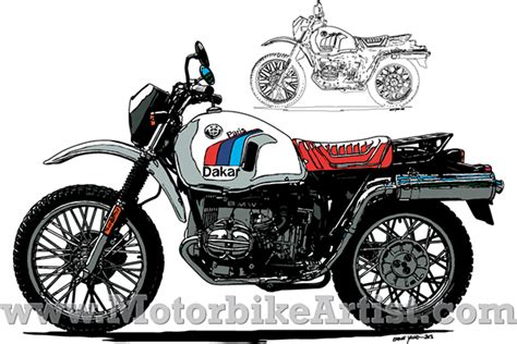 illustrator tutorial motorcycle bmw r80gs paris dakar vintage motorcycle vector artwork on