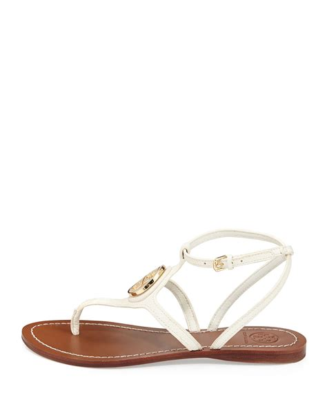 ivory flat sandals lyst burch leticia logo sandal ivory in white