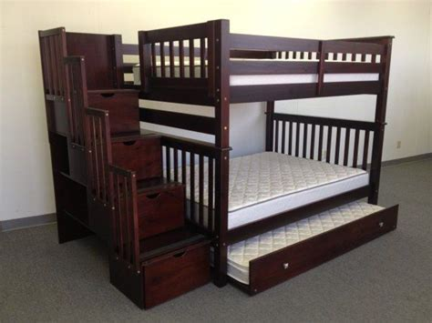 full size bunk beds with stairs bunk beds full over full stairway cappuccino trundle