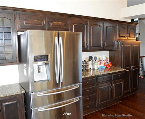 refinishing oak kitchen cabinets before and after how to refinish oak cabinets before and after