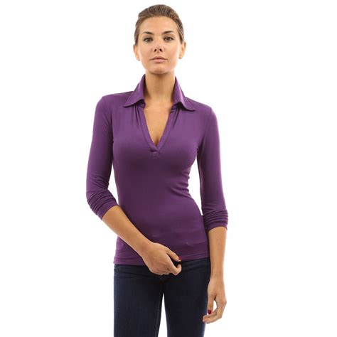 Sleeve Fit Top womens v neck sleeve polo shirt slim fit casual