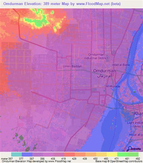 omdurman map elevation of omdurman sudan elevation map topography contour