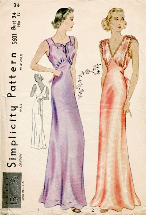 vintage underwear pattern 1930s 30s vintage lingerie sewing pattern gown negligee