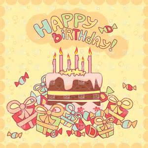 free birthday card downloads happy birthday card with cake candles and gifts vector