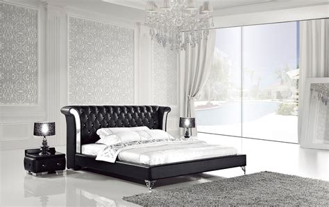 white leather bed  nightstands ae modern bedroom furniture