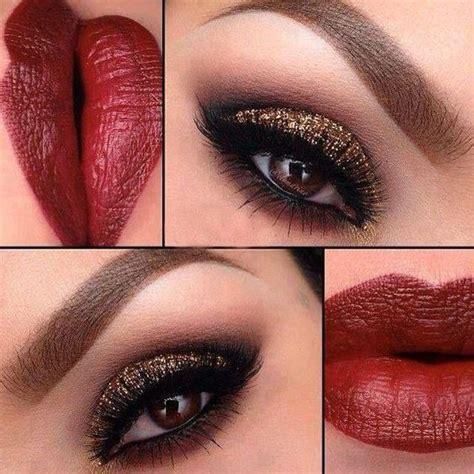 tutoriales de maquillaje para noche de labios y ojos labios rojos con sombras color bronce maquillaje especial