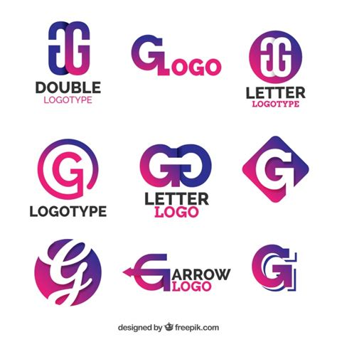 purple letter g logo collection vector free