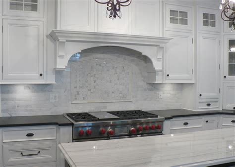 white carrera marble backsplash kitchen countertops