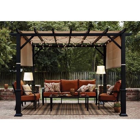 lowes gazebos and pergolas shop garden treasures 134 in w x 134 in l x 92 in h x