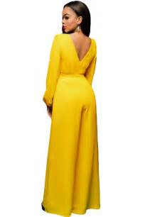 yellow belted long sleeves jumpsuit wholesale