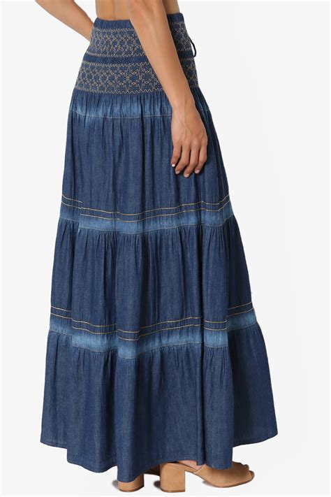 Embroidered Maxi A Line Skirt themogan s embroidered tiered a line smocked waist