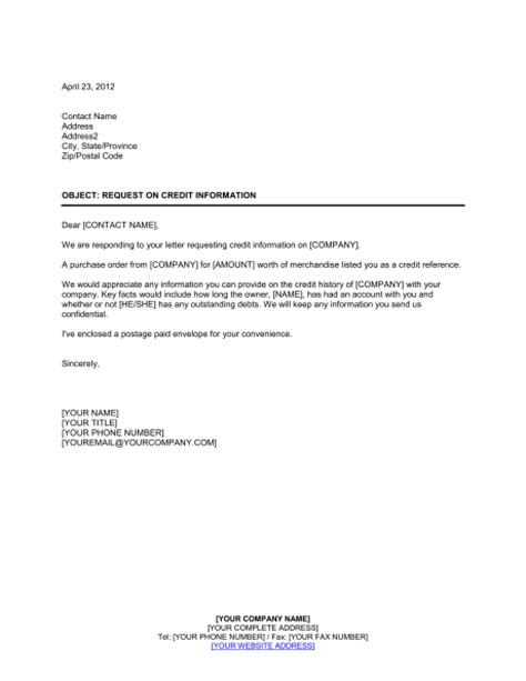 Credit Inquiry Letter Format Inquiry On New Customer Credit Template Sle Form Biztree