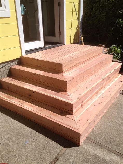 redwood deck stairs  stain elcerito ca