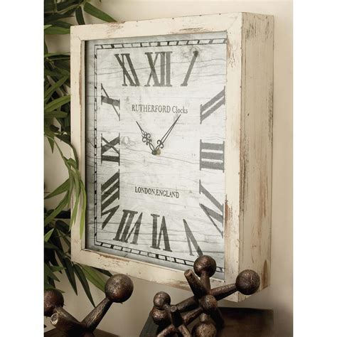 white wooden distressed wall clock litton distressed white wooden wall clock 48536 the