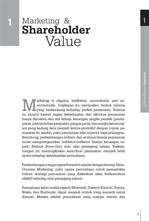 Buku Strategi Pemasaran Marketing jual buku a value creation approach strategi pemasaran dalam peningkatan nilai saham