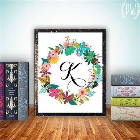 printable wall art letters monogram art nursery letter print girl wall decor floral
