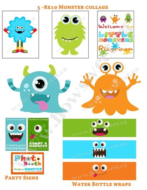 little monsters printable party pack sweetparties