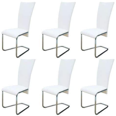 6 White Artificial Leather Dining Chairs Vidaxl Com 6 White Dining Chairs