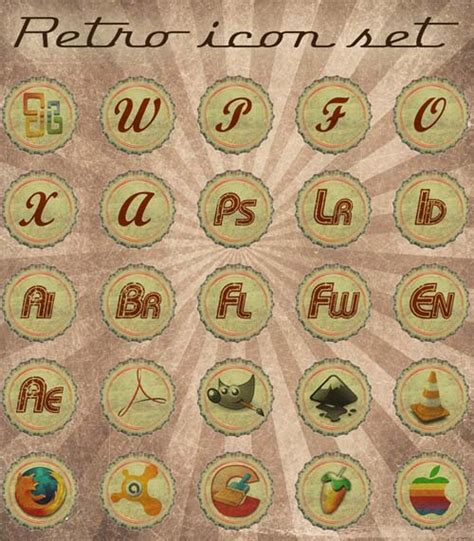 retro icons 20 free sets for vintage themed designs 20 sets of free vintage style icons designbeep