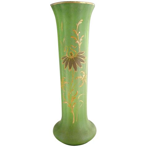Uranium Vase by Mont Joye Uranium Glass Vase Nouveau Gold From