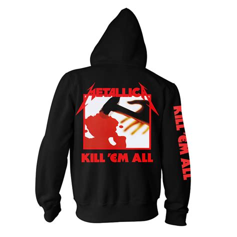Jacket Sweater Hoodie Metallica backstreetmerch kill em all black zip hoodie