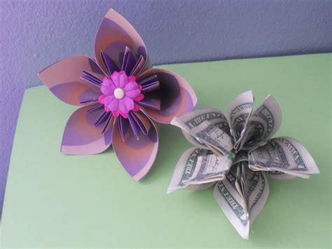 Easy Origami Kusudama Flower - how to make a money origami kusudama flower