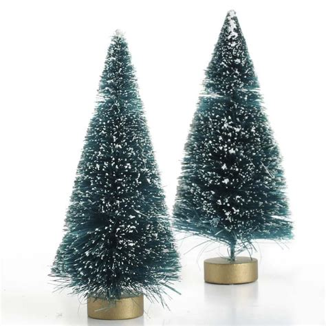 frosted green bottle brush trees christmas trees and