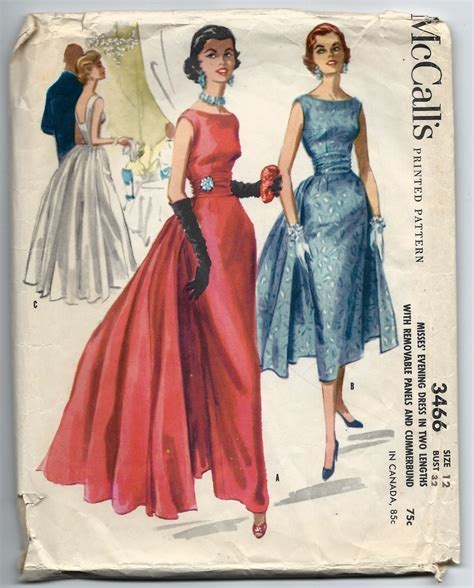 pattern for vintage dress 1950s vintage sewing pattern mccalls 3466 paneled evening