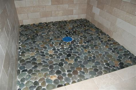 pebble shower floor tile and trim modern craftsman style home