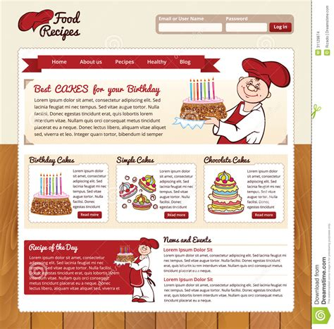 Food Recipes Web Template Stock Vector Illustration Of Layout 31129874 Cooking Website Template