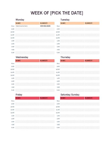 Weekly Appointment Calendar Monthly Appointment Schedule Template