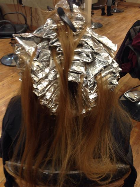 picture of hair clours foil full head foil highlight before hair coloring
