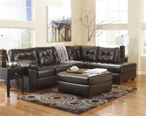 ashley furniture leather sectional alliston durablend chocolate right arm facing sectional