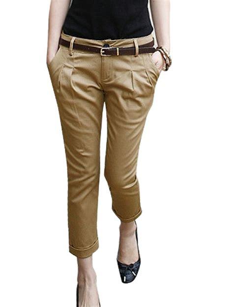 picture  women  khali pants belts woman khaki belt loop slant pocket cropped casual